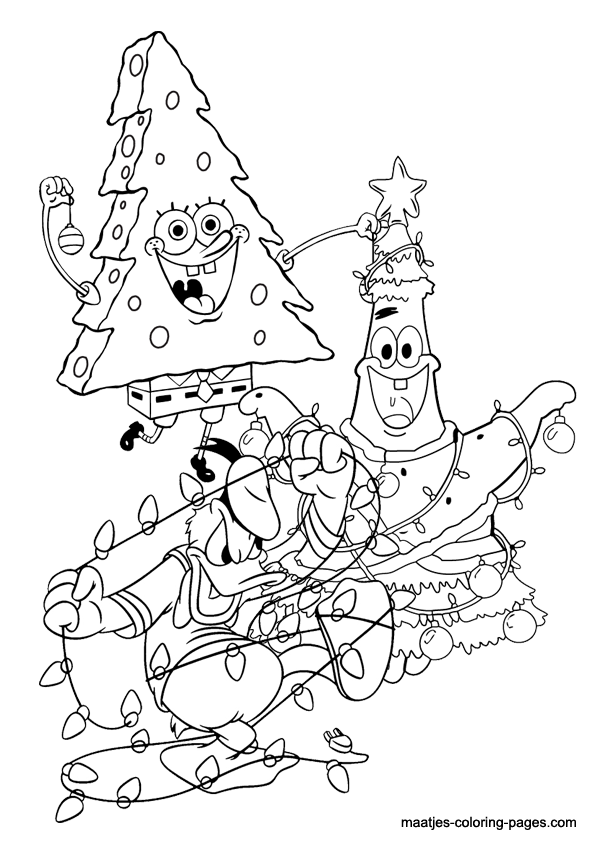 Spongebob and Patrick Star Christmas coloring page