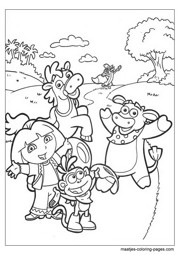 Preschool Coloring Sheets: Dora Explorerdora Explorer Coloring Pages   842x595
