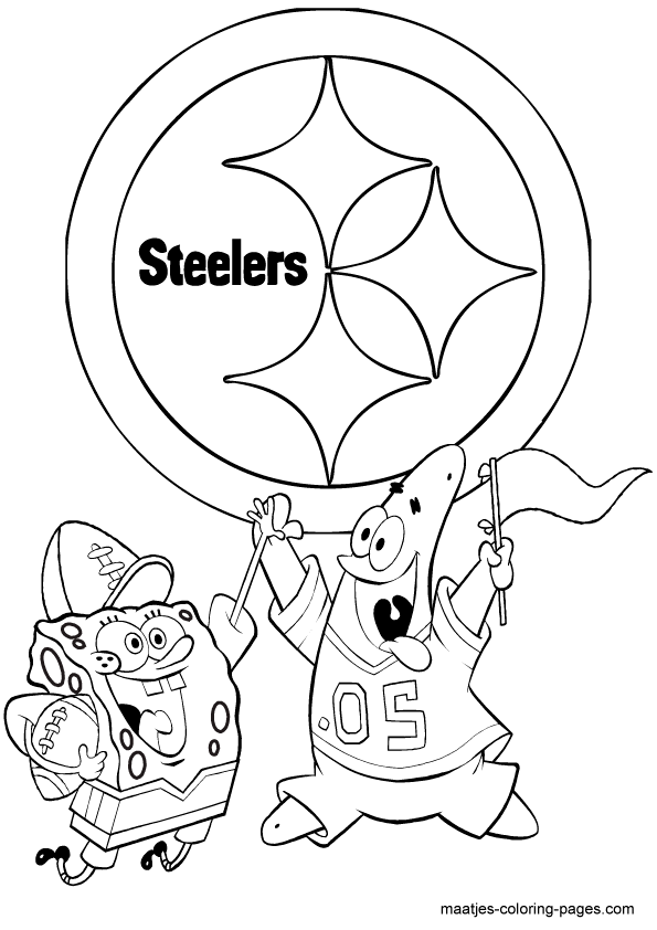 pittsburgh steelers spongebob playing football free printable ... - Steelers Coloring Pages Printable
