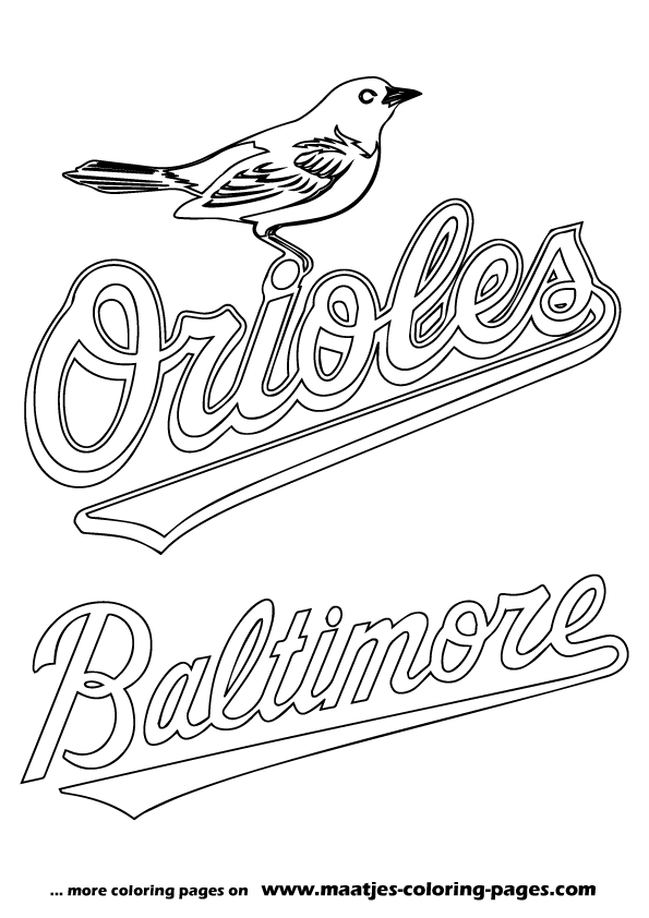Mlb baltimore orioles logo coloring pages for Coloring pages baseball team logos