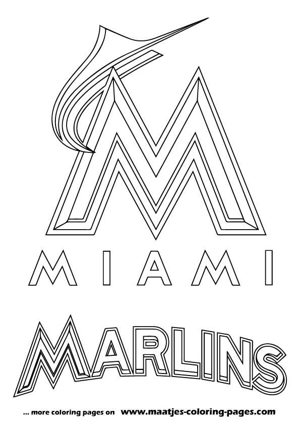 Mlb miami marlins logo coloring pages for Mlb logo coloring pages