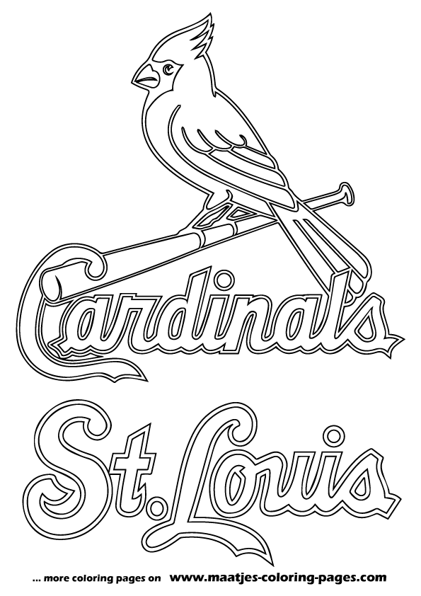 mlb logo coloring pages - mlb st louis cardinals logo coloring pages