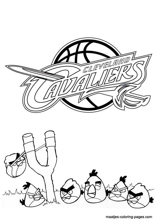 Angry birds and cleveland cavaliers nba coloring pages for Cavs coloring pages