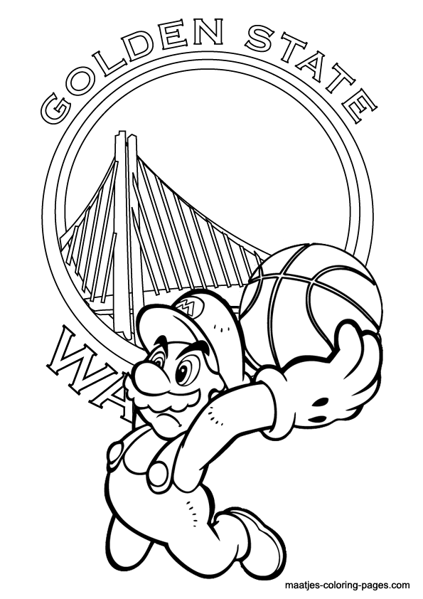 Golden State Warriors And Super Mario Nba Coloring Pages