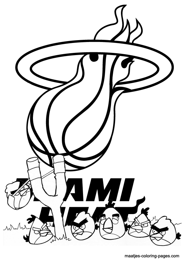 heat coloring pages | Miami Heat Slam Dunk Coloring Pages