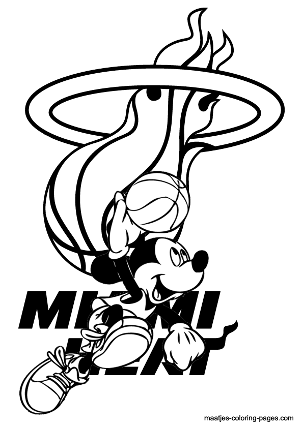 Miami heat and mickey mouse coloring pages for Basketball coloring pages nba