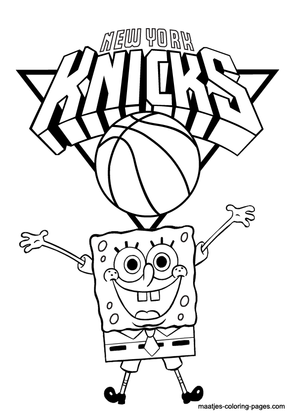 New York Knicks And Spongebob NBA Coloring Pages