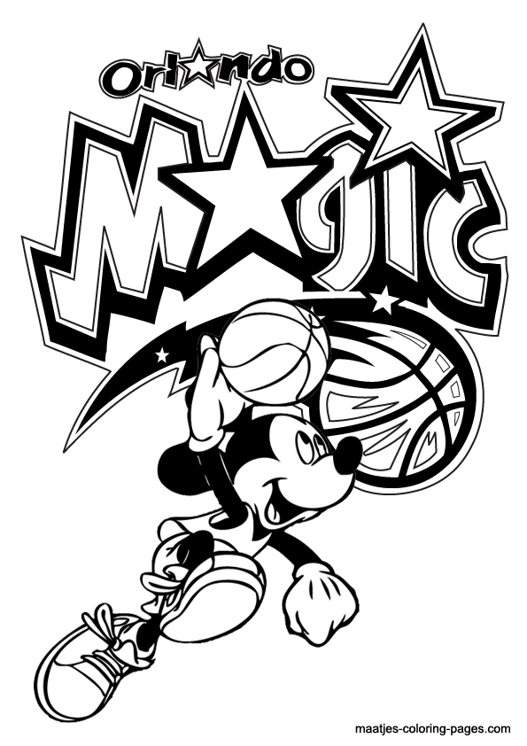 Orlando Magic and Mickey Mouse coloring pages
