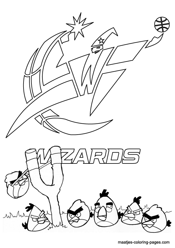 Angry Birds And Washington Wizards NBA Coloring Pages