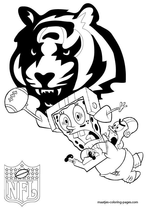nfl cincinnati bengals coloring pages   Cincinnati Bengals - Patrick and Spongebob - Coloring Pages