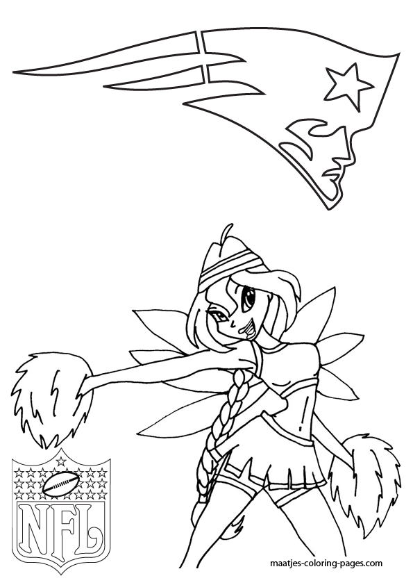 New england patriots winx cheerleader coloring pages for New england patriots football coloring pages
