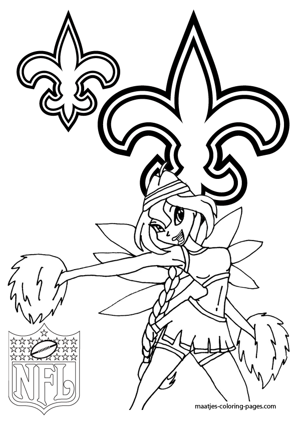 New Orleans Saints Winx Cheerleader Coloring Pages
