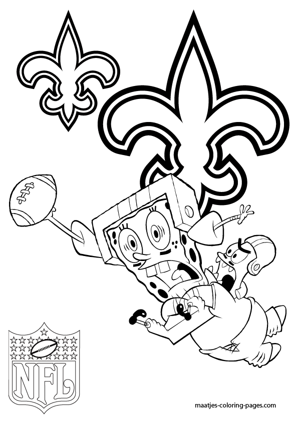 New orleans coloring pages ~ New Orleans Saints - Patrick and Spongebob - Coloring Pages
