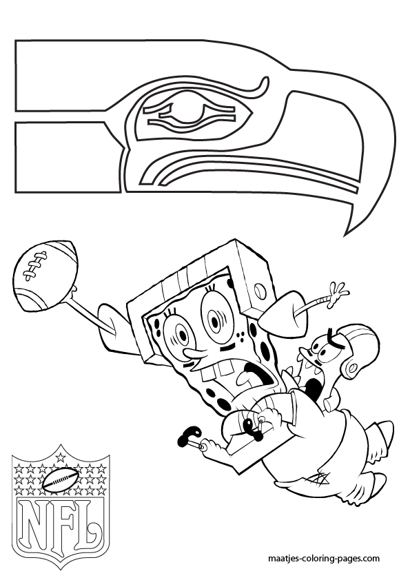 Seattle seahawks patrick and spongebob coloring pages for Seahawks coloring page
