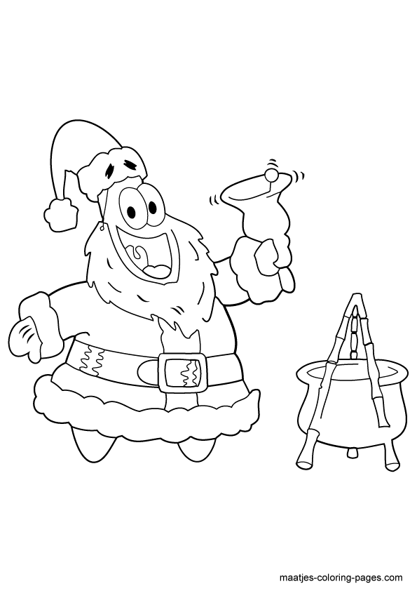 Patrick Star Coloring Pages For Christmas 20 | 842x595