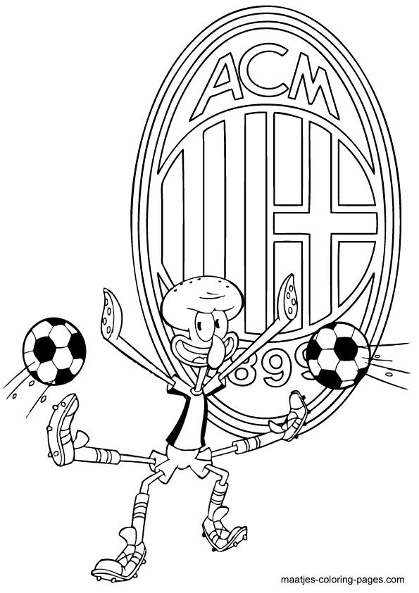 SpongeBob SquarePants coloring pages  Playing soccer