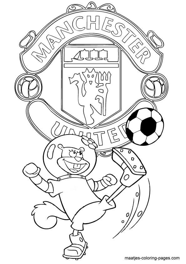 Spongebob squarepants coloring pages playing soccer for Manchester united coloring pages