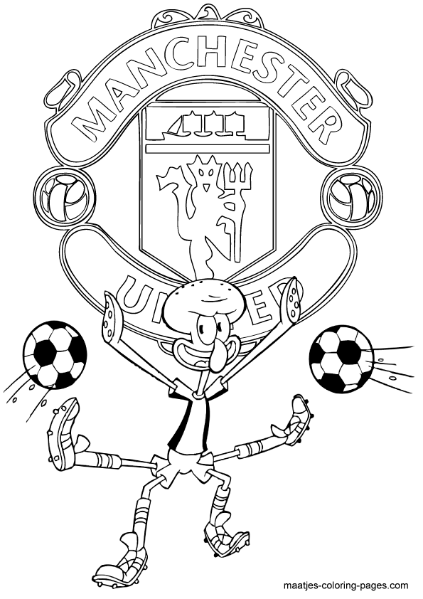 Manchester United Squidward playing soccer free printable ...