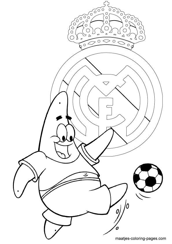 Spongebob Squarepants Coloring Pages Playing Soccer