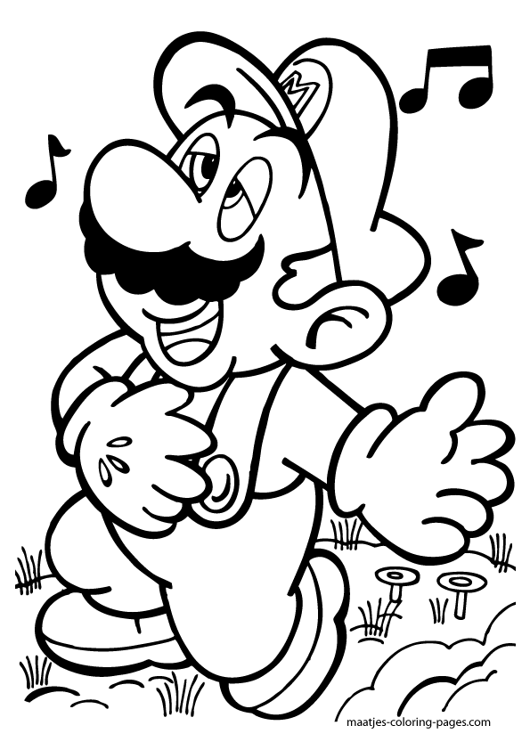 Paper mario coloring pages photograph super mario singing for Paper bowser coloring pages