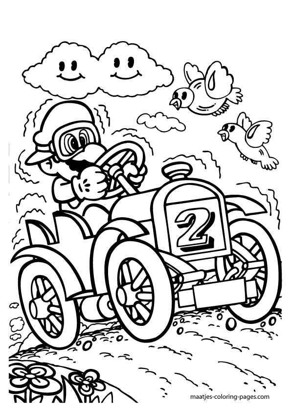 Super Mario Driving A Car Coloring Pages