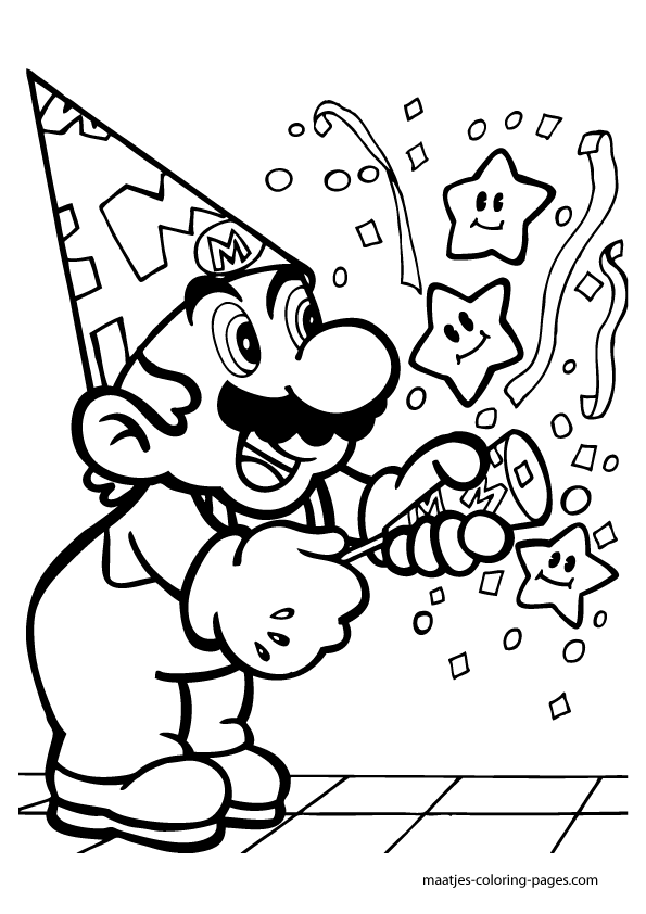 Super Mario Anniversary Birthday Coloring Pages