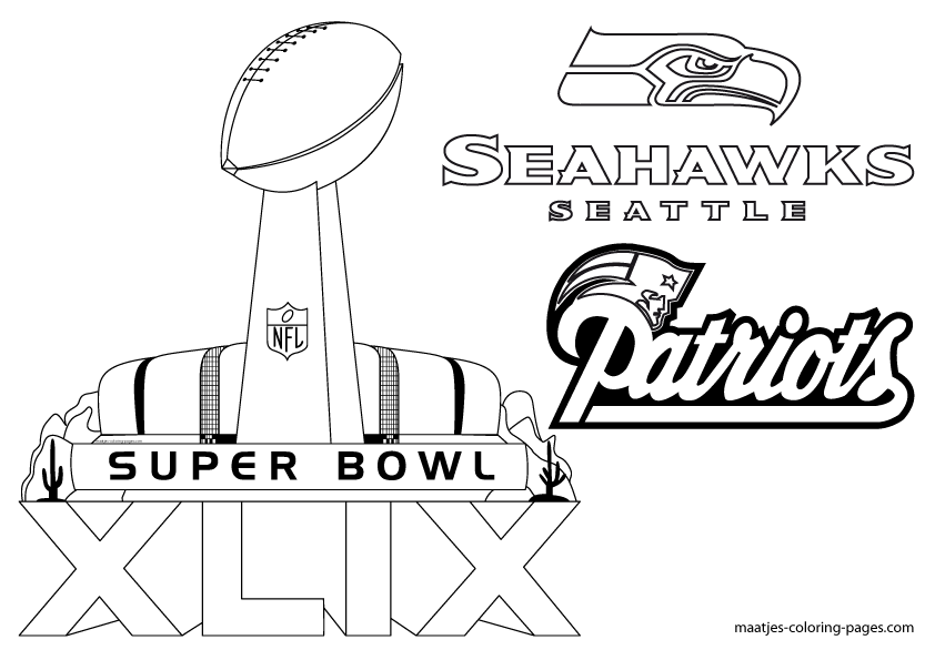 Free Printable Super Bowl Xlix New England Patriots And Seattle Seahawks Coloring Pages