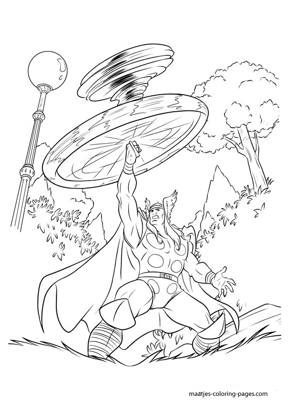 Thor Coloring Page For Children