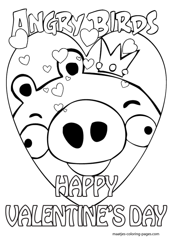 Special Angry Birds Valentines Day Coloring Pages for kids