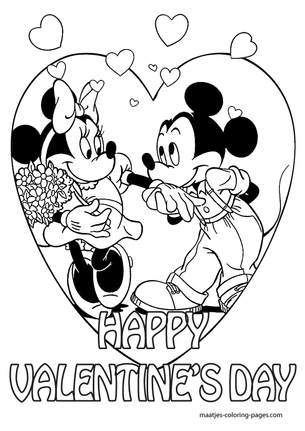 Mickey Mouse Valentines Day coloring pages for kids