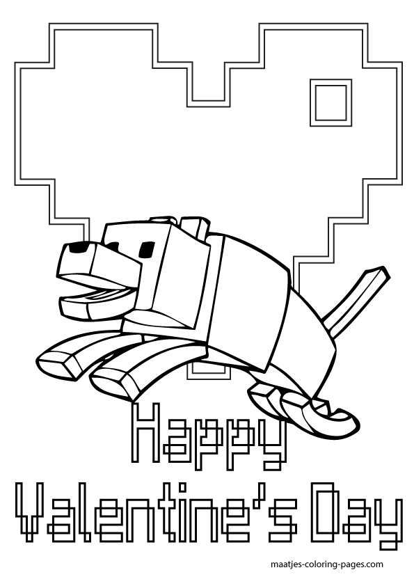 Valentine Minecraft Free Coloring Pages