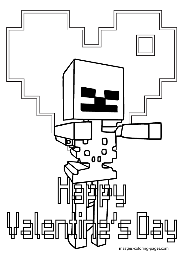 Minecraft Valentines Day Coloring Pages For Kids