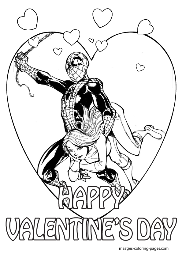 Spiderman And Mary Jane Valentines Day Coloring Pages For Kids