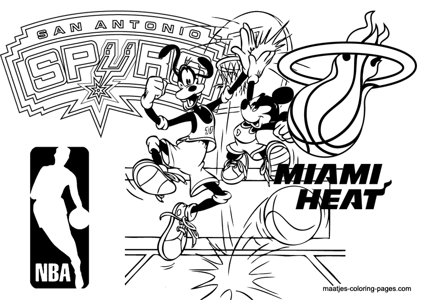 Maatje coloring page of the week 24 nba san antonio for Miami heat coloring pages