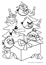 Christmas Angry Birds Coloring Pages For Kids