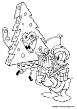 Spongebob as christmas tree and Donald Duck with christmas presents