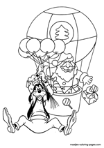 Santa Claus in an air balloon and Goofy hanging on balloons