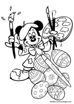 Mickey And Minnie Mouse Easter Coloring Pages