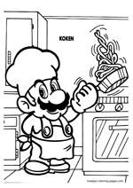 Super Mario cooking in the kitchen
